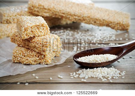 Sesame Seed And Sesame Dessert With Caramel .