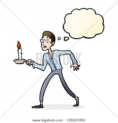 cartoon frightened man walking with candlestick with thought bubble poster