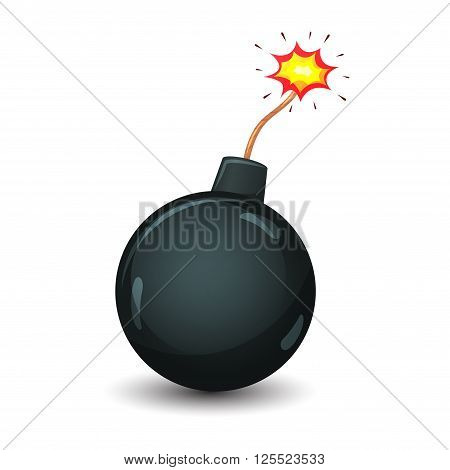 Cartoon bomb with burning wick. Icon of a cartoon bomb ready to explode. Vector illustration isolated on a white background.