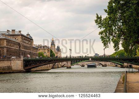 View On River Over The Bridge In Paris
