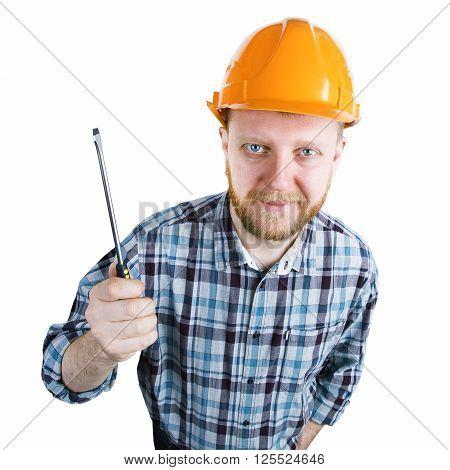 Bearded man in an orange helmet with screwdriver
