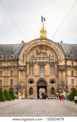 View On Les Invalides Building With Golden Dome, Paris
