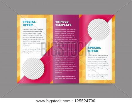 Colorful tri fold design. Cover design concept. Tri fold cover and inside page. Advertising brochure template. Trifold. Tri fold brochure design. Design folding brochure. Tri fold template. Flyer layout. Creative trifold brochure.