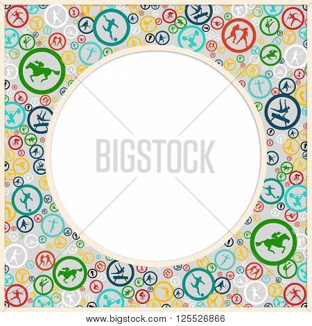 Round color Frame with place for text and with colorful sports icons in the background. Summer sports game. Sports games design. Sport icons pattern. Summer sports emblem. Design Template. Vector