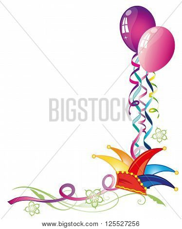 Colorful carnival decoration, dunce cap with balloons and streamer.