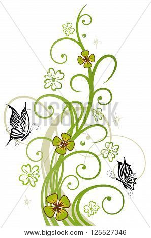 Clover tendril, Silvester decoration with swirl and butterflies.