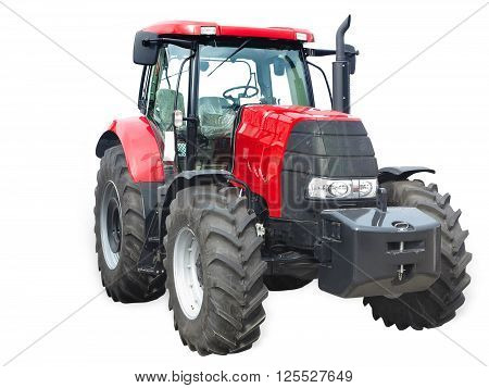 New red powerful tractor isolated over white background