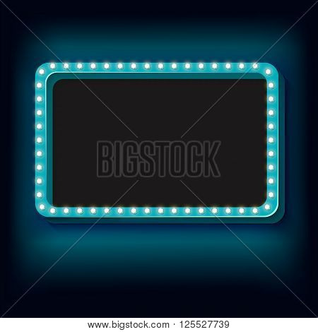 Blue retro frame. Volumetric vintage frame with lights. Futile empty space for your text message advertising. Blue light lamps falls on a black background. illustration
