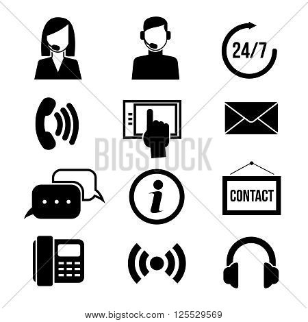 Support, customer service, call center and telemarketing vector icons. Customer support service, call center support, assistant support illustration
