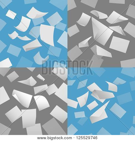 Flying blank paper sheets vector set. Blank paper, sheet paper fly, page papper document illustration