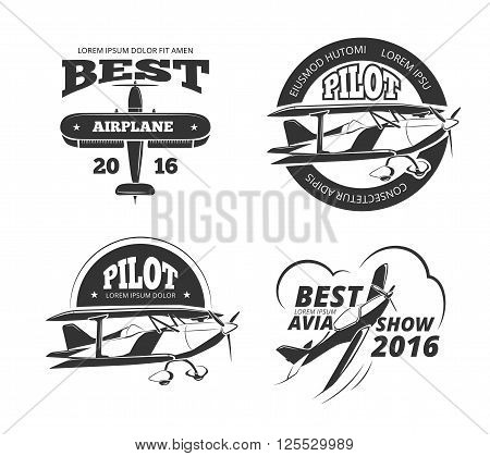 Retro airplane, aircraft vector labels set. Best pilot label, aeroplane or monoplane badge, emblem airplane transport, avia show airplane logo illustration