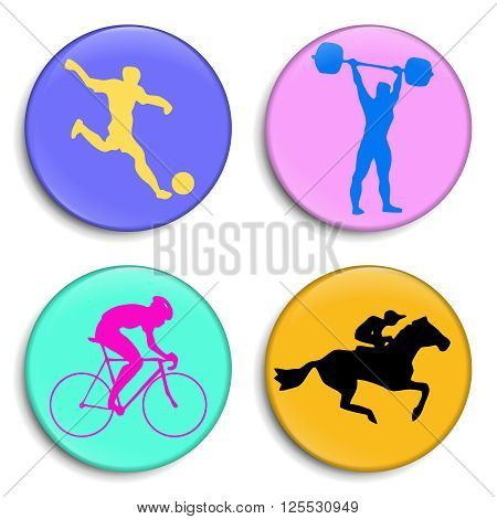 Football player. Bicyclist. Weightlifter. Horseman. Silhouettes athletes. Sport Stick Figure. Sport 3D Buttons. Modern style. Color medals Summer sports game series labels logo badges icons. Vector