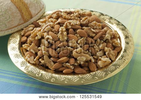 Traditional Moroccan festive tajine with nuts and dates