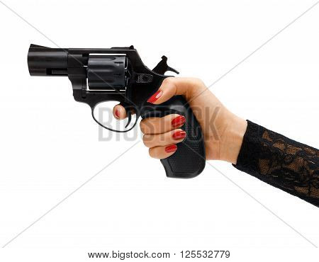 Revolver in hand. Studio photography of woman's hand holding handgun - isolated on white background. Business concept