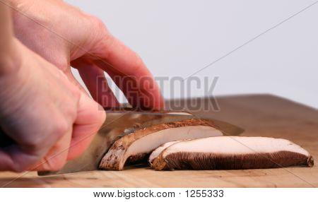 Slicing Portabella Mushrooms