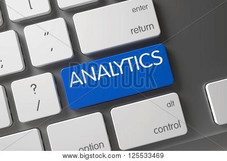 Computer Keyboard with the words Analytics on Blue Keypad. Analytics Concept Metallic Keyboard with Analytics on Blue Enter Button Background, Selected Focus. Analytics Button. 3D.