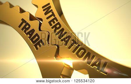 International Trade on the Mechanism of Golden Metallic Gears with Lens Flare. International Trade on the Golden Gears. International Trade Golden Metallic Cogwheels. 3D Render.
