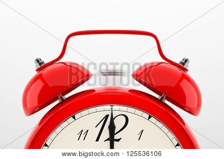 Ringing alarm clock. Red table shelf vintage clock on white background. Deadline, wake up, time is up, act fast, sale reminder, hot prices concept. 3D illustration
