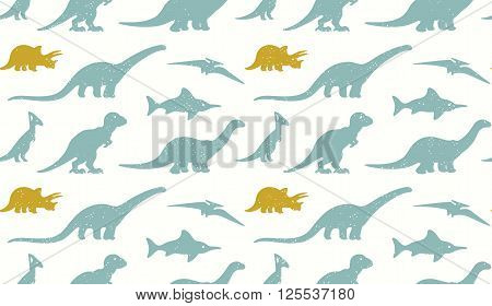 Vector set silhouettes of dinosaur on white background. Modern design in pastel colors. Ideal for cards, invitations, party, banners, kindergarten, textile, wallpaper