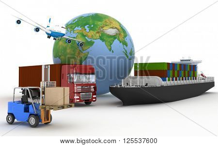 Cargo ship, truck, plane and loader with boxes. 3d image