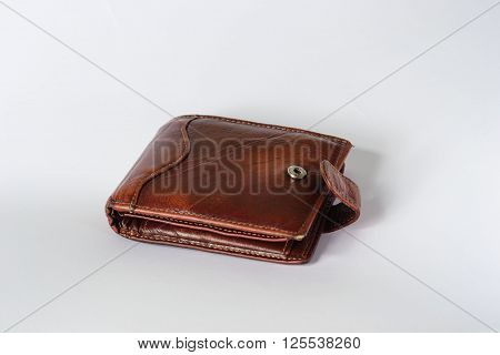 old leather wallet isolate on white background