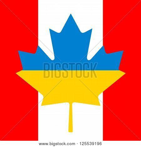 Canada Ukraine Flag Friendship. Background foe post cards.
