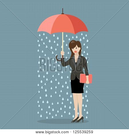 Business woman being wet from raining instead she holding umbrella. Business concept