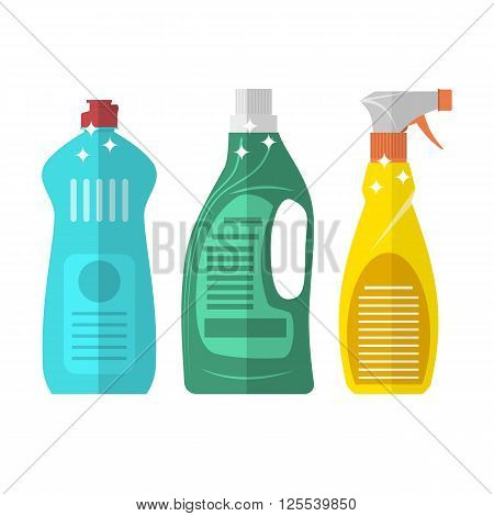 Household chemistry cleaning three plastic bottles, household cleaning container design. Domestic spray washing handle equipment. flat vector illustration isolated on white background.