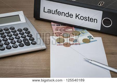 Laufende Kosten Written On A Binder