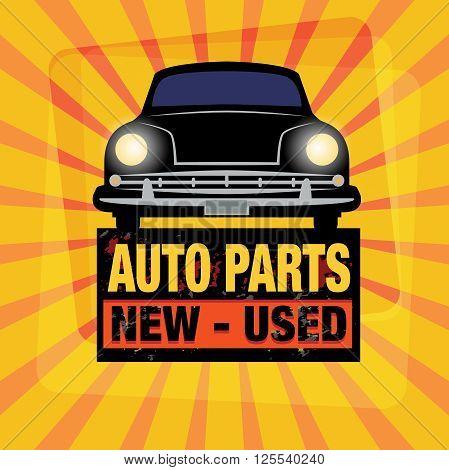 Vintage Garage Auto Parts sign, vector illustration