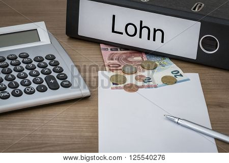 Lohn Written On A Binder