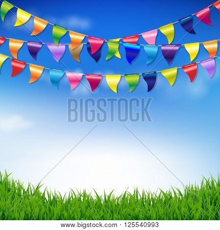 Bunting Birthday Flags With Sky And Grass Border With Gradient Mesh, Vector Illustration