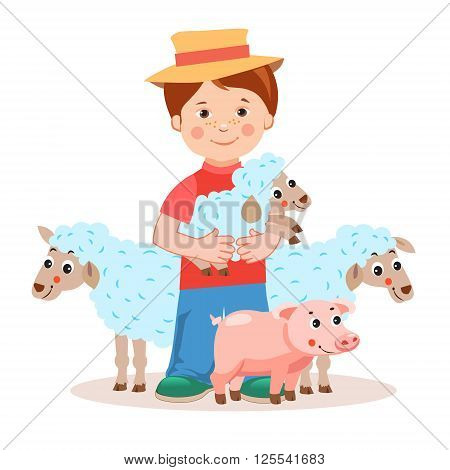 Young farmer with lamb in the hands and farm animals - pig sheep. Cartoon vector illustration on a white background. Young farmer gifts. Successful farmer. Farm Animals For Sale. Farm Animals Toys.