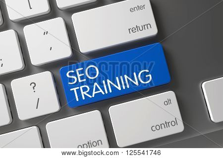 SEO Training Key on Computer Keyboard. Slim Aluminum Keyboard Keypad Labeled SEO Training. Blue SEO Training Keypad on Keyboard. SEO Training Written on Blue Button of Computer Keyboard. 3D.