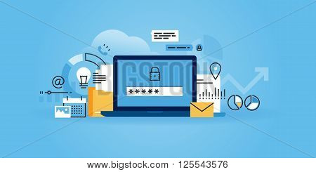 Flat line design website banner of online security, data protection, antivirus software, cloud computing. Modern vector illustration for web design, marketing and print material.