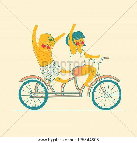 Friendship. Happiness. Two best friends ride on tandem bicycle. Flat design. Vector illustration.