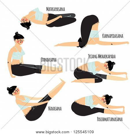Yoga posture. Set with cartoon woman exercising various different yoga poses training poster
