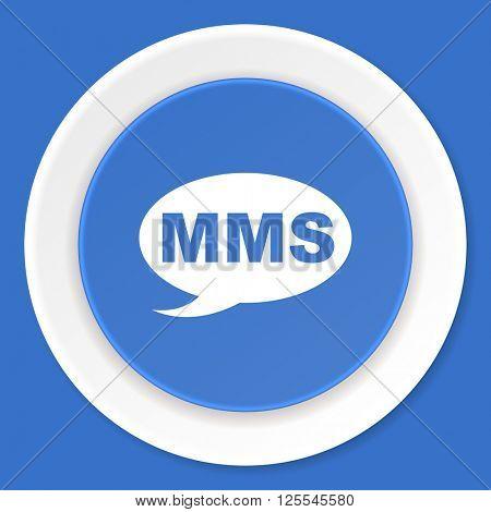 mms blue flat design modern web icon