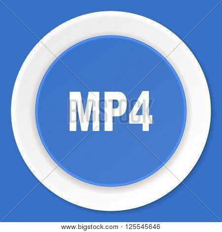 mp4 blue flat design modern web icon