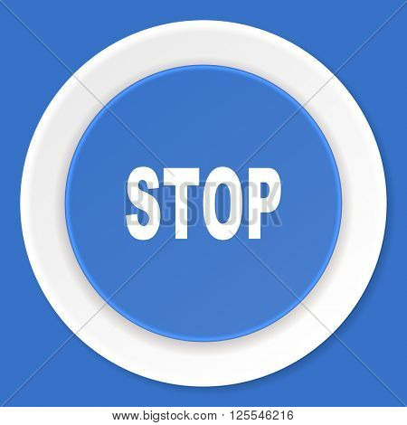 stop blue flat design modern web icon