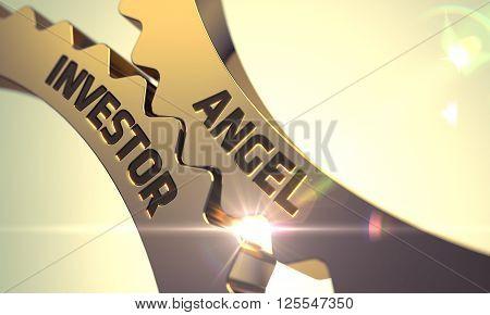 Angel Investor Golden Metallic Cog Gears. Angel Investor - Industrial Design. Angel Investor on Mechanism of Golden Metallic Cog Gears. Angel Investor - Concept. 3D Render. poster