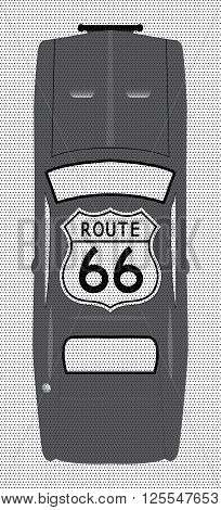 A route 66 sign on a grey car with black dots on a white background