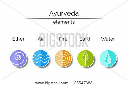Ayurveda vector illustration. Ayurvedic elements: water, fire, air, earth, ether. Ayurvedic symbols in linear style. Alternative medicine. Infographic with flat icons. Healthy life. Indian medicine.