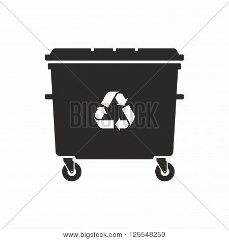 Wheelie bin icon. Plastic container for waste.