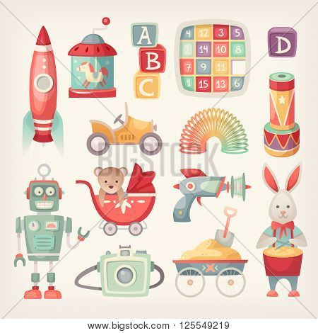Colorful retro toys from the 60th in vintage colors.