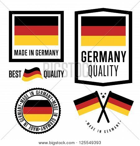 Made in Germany label set. Vector Germany flag. Symbol of quality. Manufacturing by Germany. Tags and sticker collection. Vintage and modern stamp.