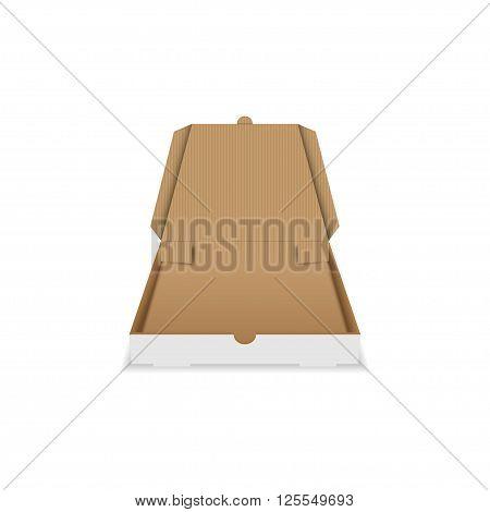 Vector pizza box. Open pizza box. Cardboard pizza box. Empty pizza box. Square pizza box. Isolated on white.
