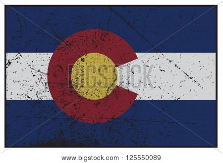 Colorado State Flag Grunged