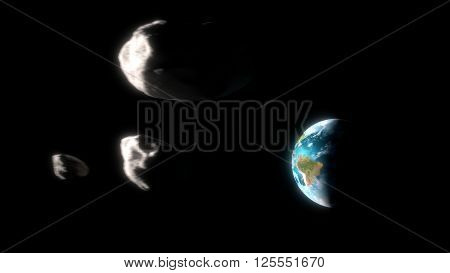 Asteroids group approaching the earth. 3d illustration