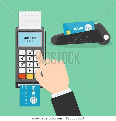 Vector illustration of hand and payment terminal. Point of sale terminal. Credit card terminal. POS terminal or a PDQ terminal in flat style. Businessman's hand entering pin code for your design